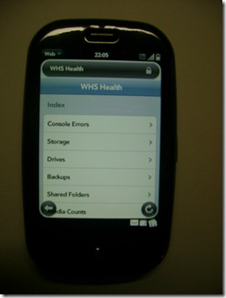 WHS Health Add-In with the Palm Pre / Pixi
