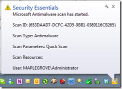 Microsoft Security Essentials Notifier Add-In for WHS