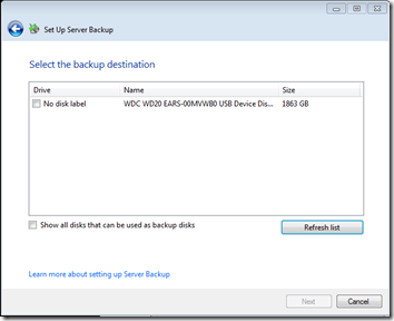 Server Backup New Drive Found