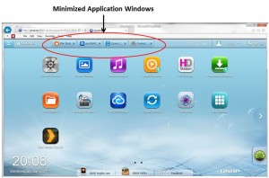 QTS desktop minimized application windows