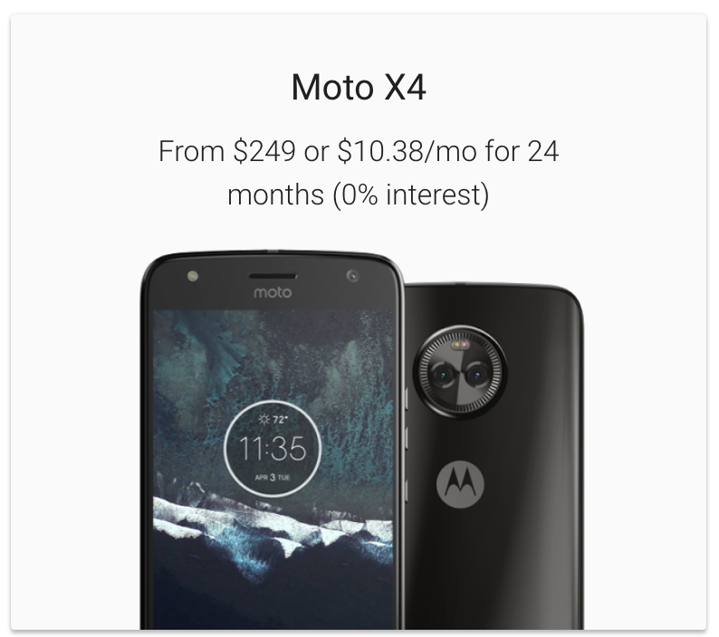 Moto X4 on Project fi is now $249